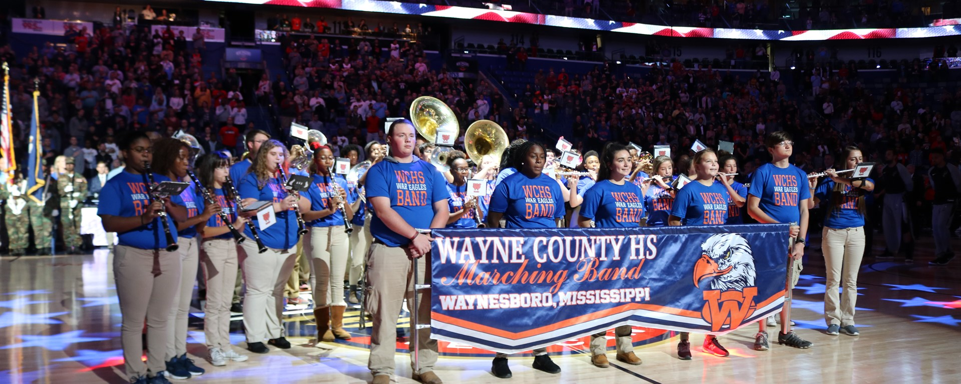 War Eagle Band Performs National Anthem at Pelican Game