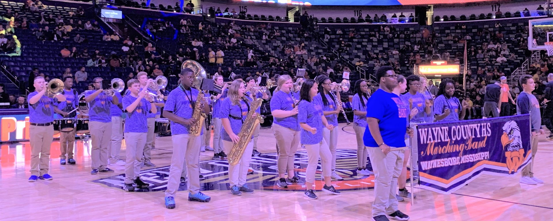 WCHS Band at New Orleans Pelicans basketball game last week against the LA. Lakers