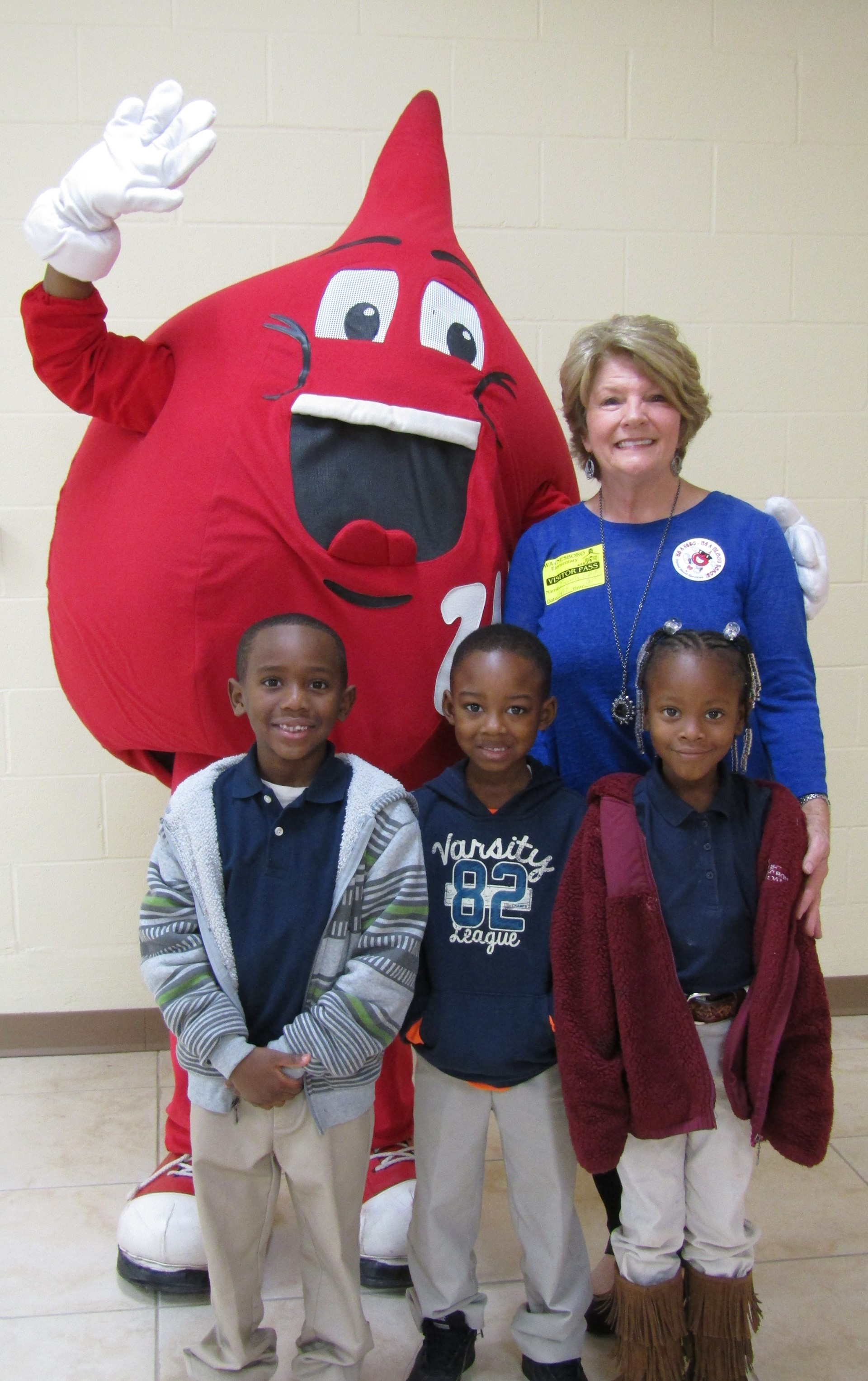 Ubie and Beverly Clark of United Blood Services visits WES before Blood Drive.